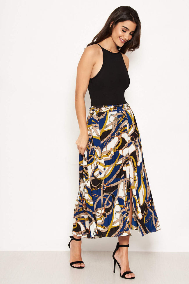 Blue Pleated Midi Skirt With Chain Print