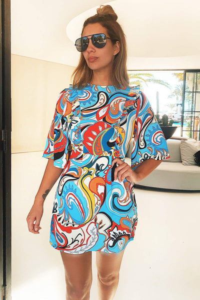 Blue Printed Frill Front Dress