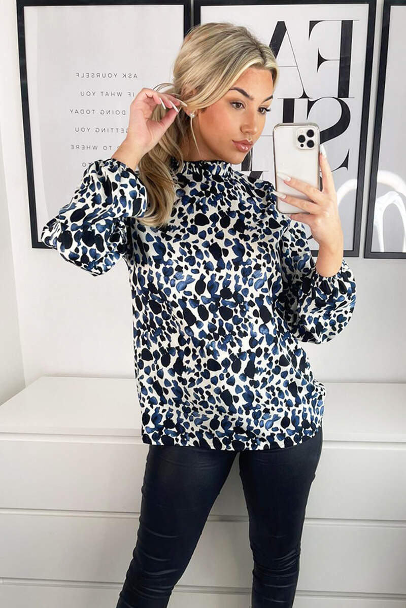 Blue Printed Ruffle High Neck Top