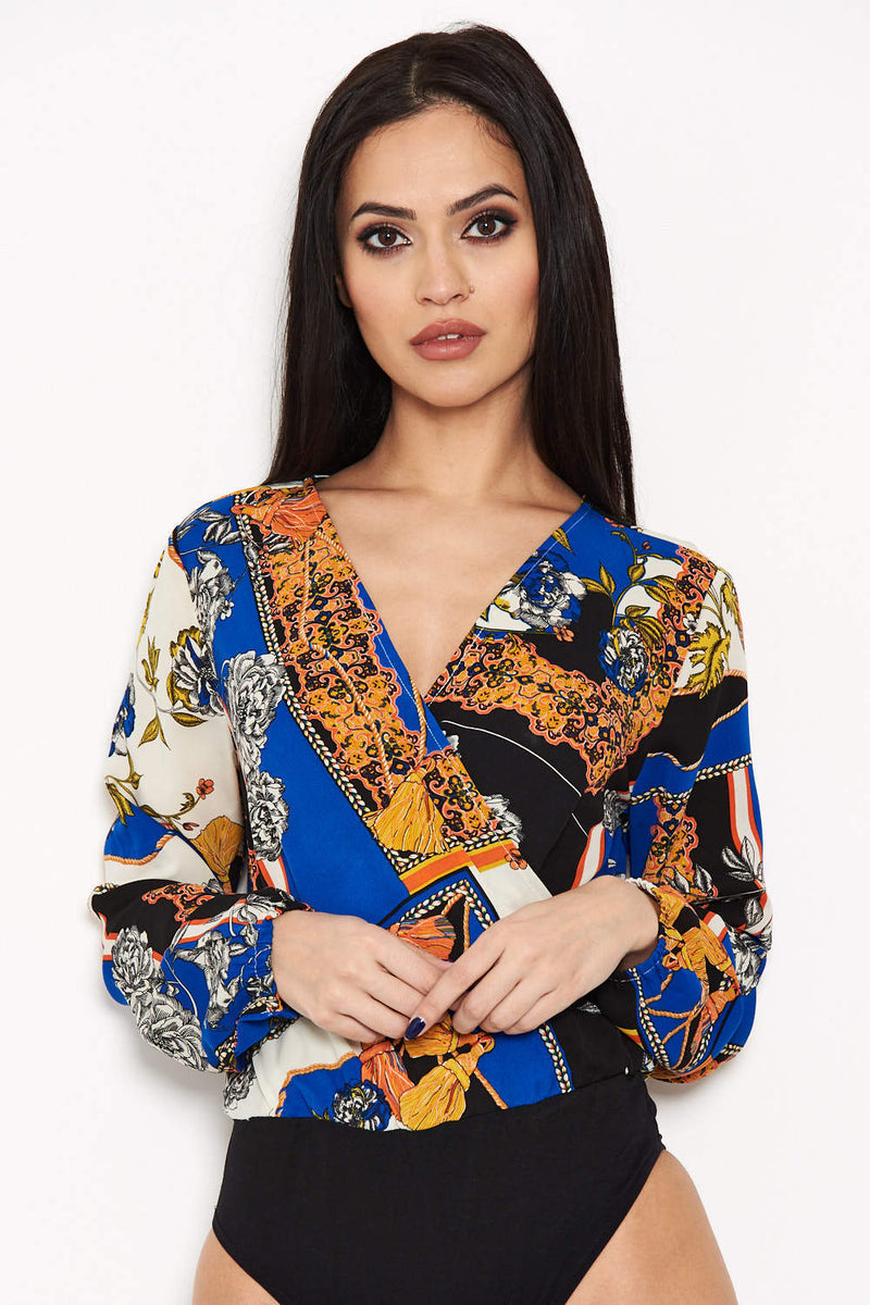 Blue Printed Wrap Bodysuit