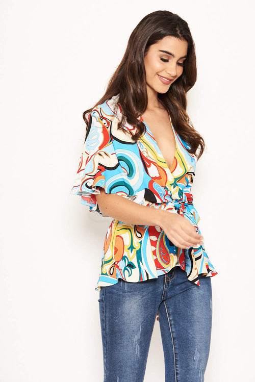 18d881107a Blue Printed Wrap Over Top