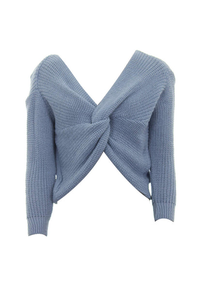 Ice Blue Reversible Twist Knot Jumper