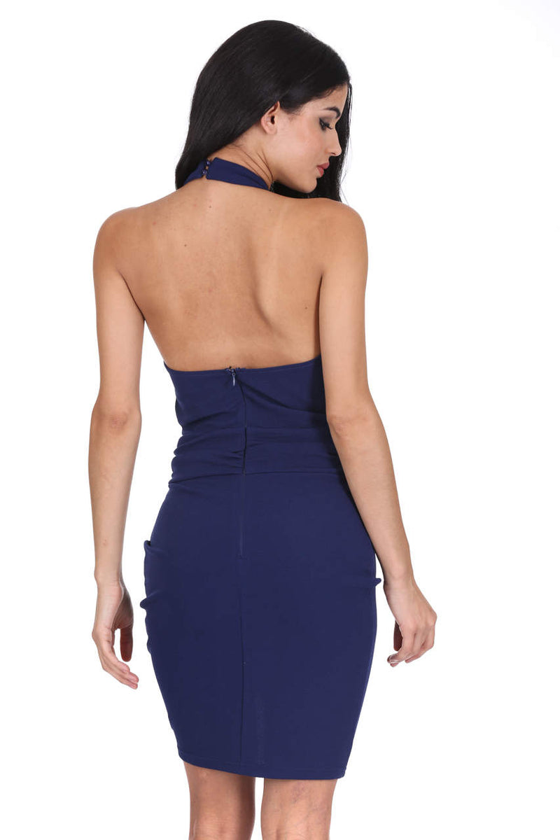 Navy Ruched Backless Choker Neck Dress