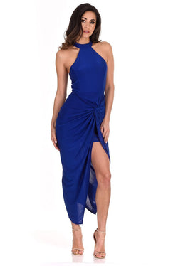 Blue Ruched Wrap Dress