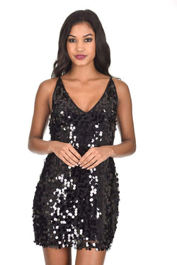 Black Sequin Swing Dress