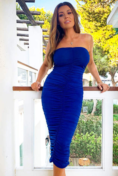 Blue Strapless Ruched Bodycon Midi Dress