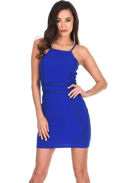 Blue Strappy Stud Front Bodycon Mini Dress