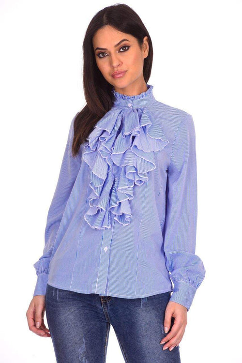 Blue Striped Ruffle Shirt