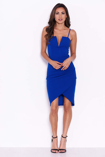 Blue V Front Strappy Bodycon Dress