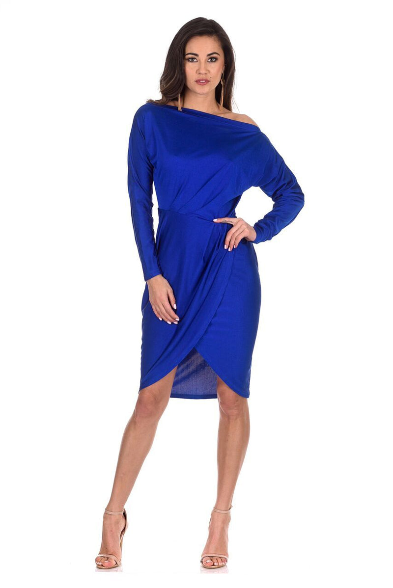 Blue Wrap Midi Dress