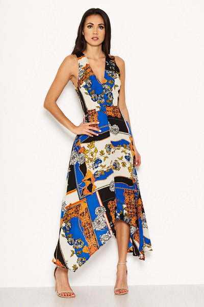 Blue Scarf Print Maxi Dress