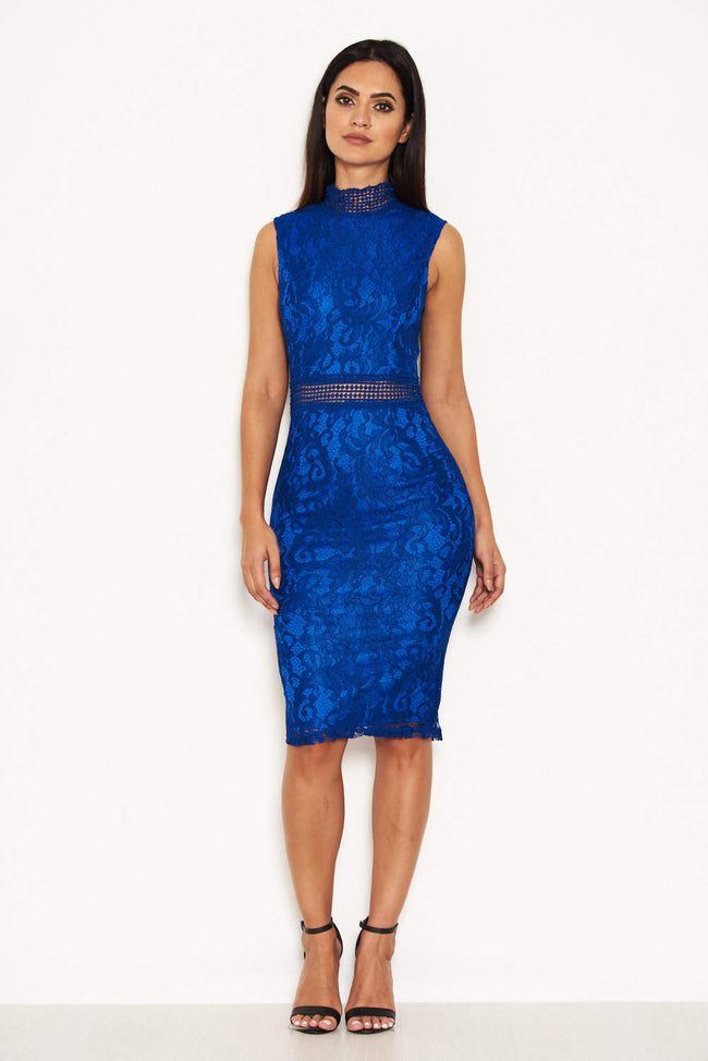 Blue Lace Midi Dress