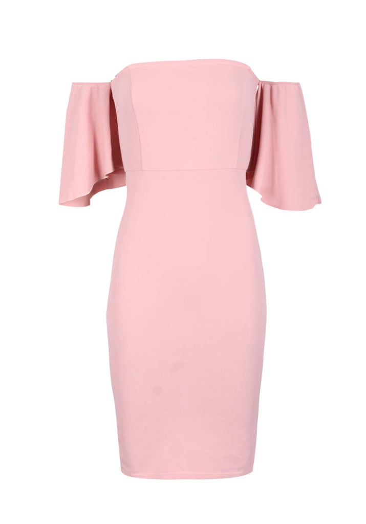 Blush Bardot Frill Sleeve Midi Dress