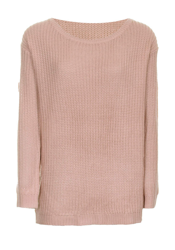 Blush Cable Knit Ladder Back Jumper