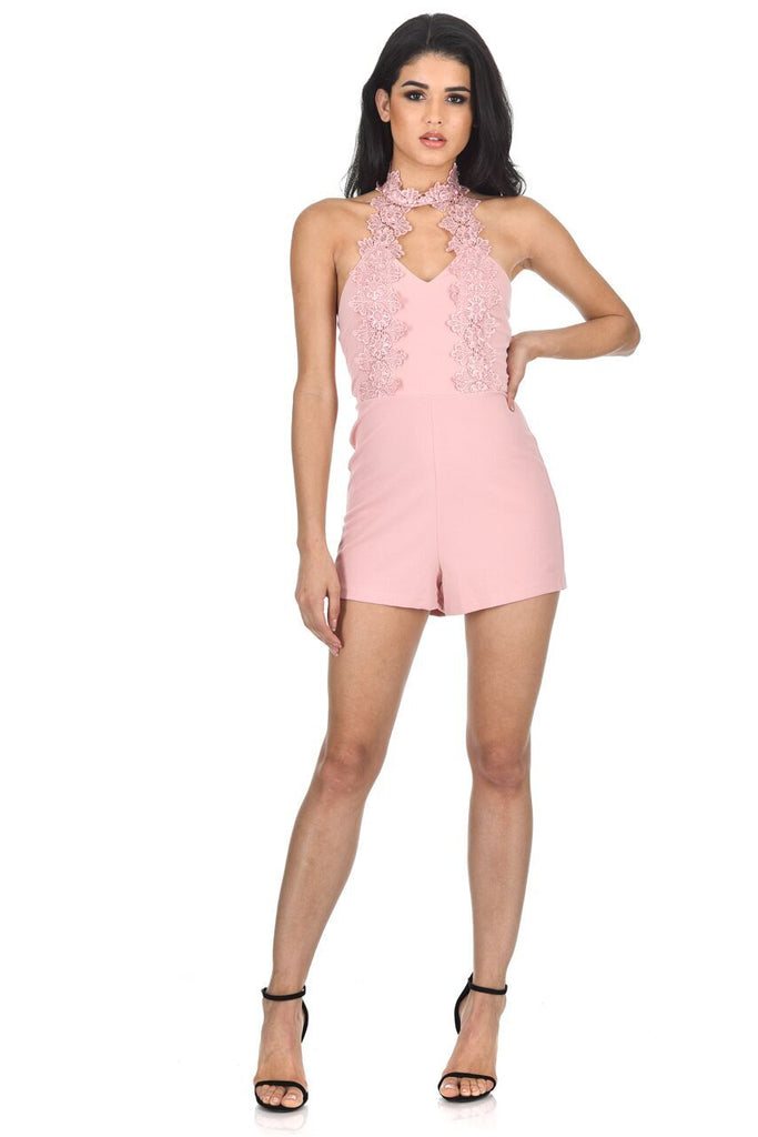 Blush Choker Embroidered Playsuit