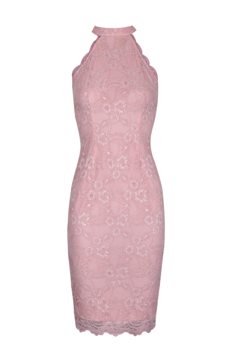 Blush Choker Neck Midi Lace Dress