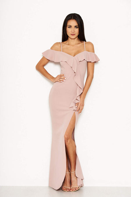 Mushroom Off Shoulder Ruched Dress