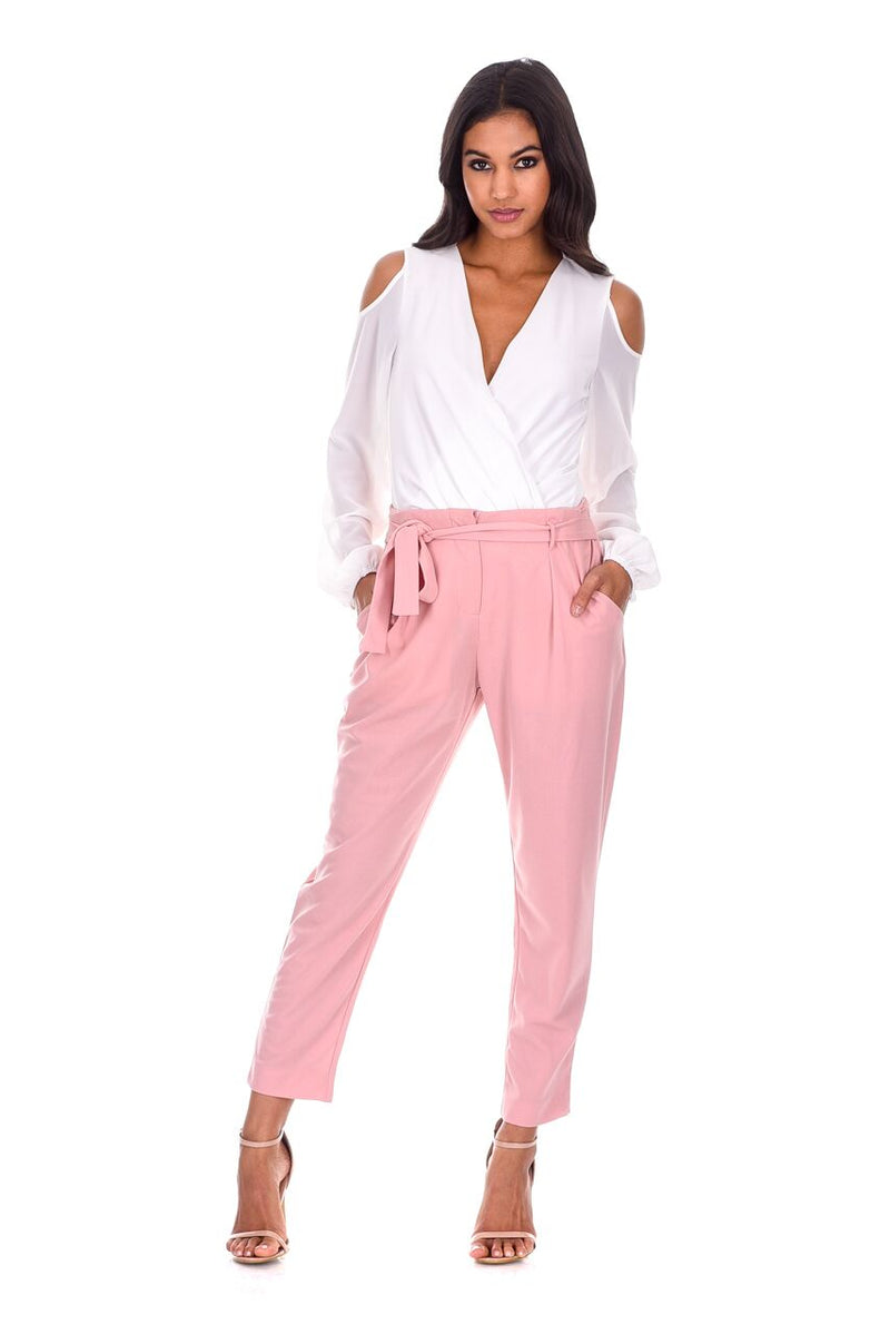 Blush Cropped Tie Belt Trousers