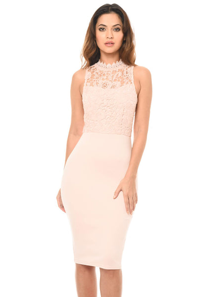 Blush High Neck Bodycon Dress