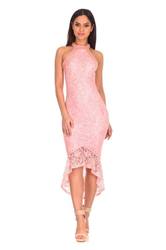 Blush Lace Choker Neck Dress