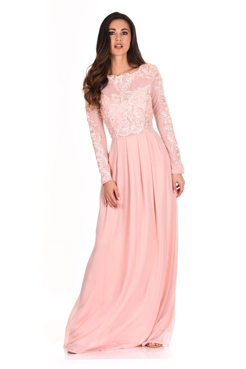 Lace Detail Sleeved Maxi Dress