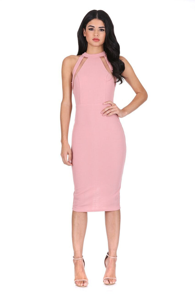 Blush Mesh Detail Bodycon Dress