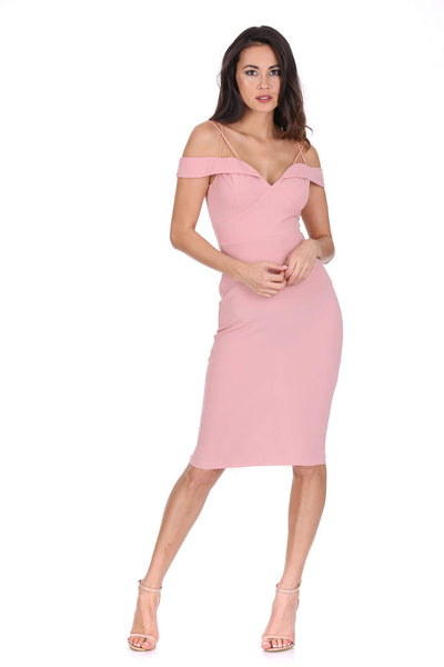 Blush Off The Shoulder Bodycon Dress