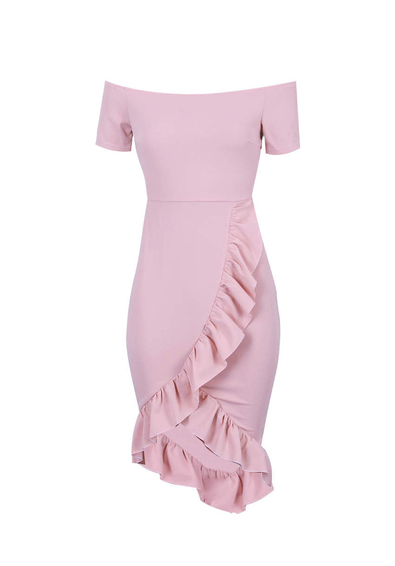 Blush Off The Shoulder Frill Detail Bodycon Dress