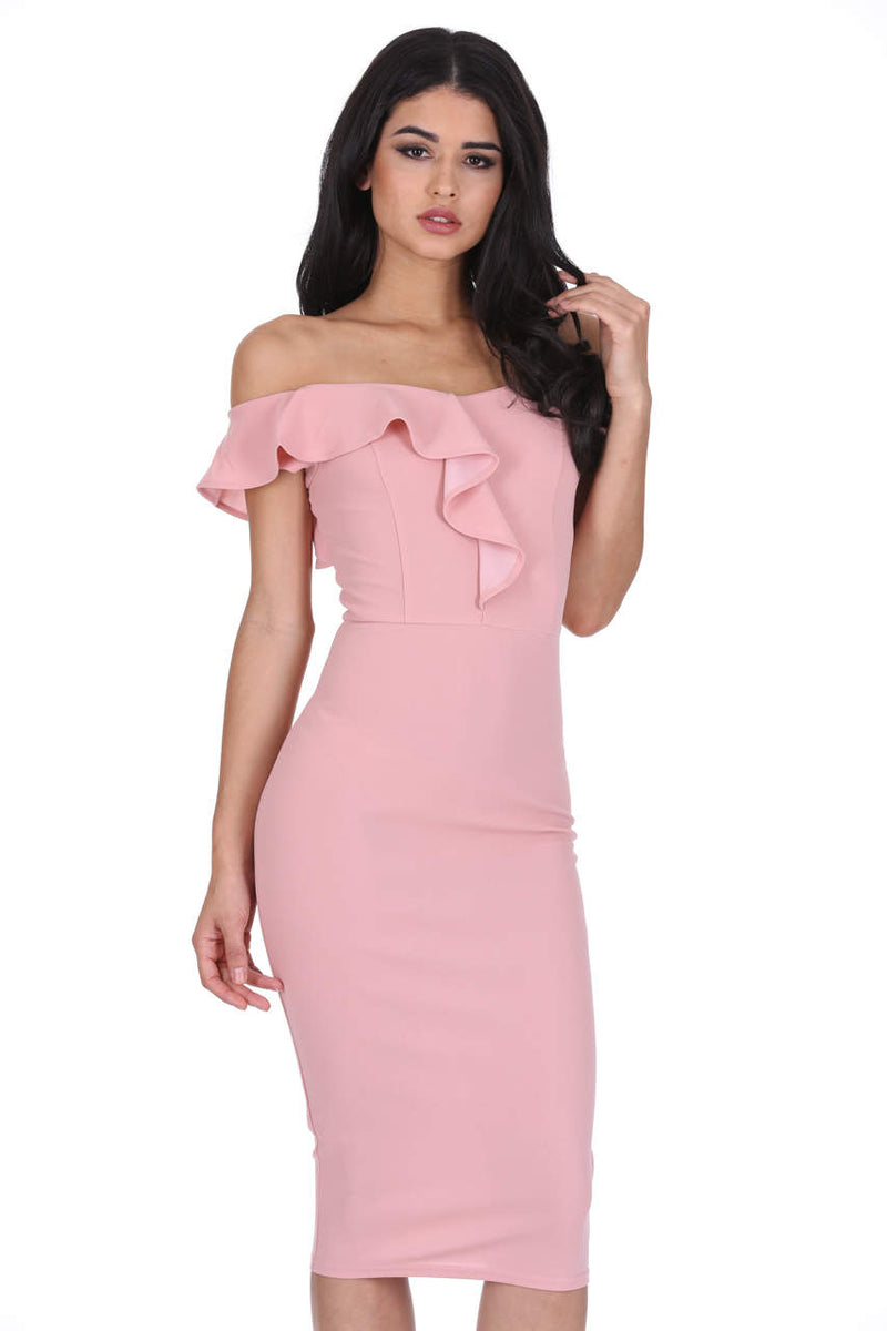 Blush Off The Shoulder Frill Detail Midi Dress