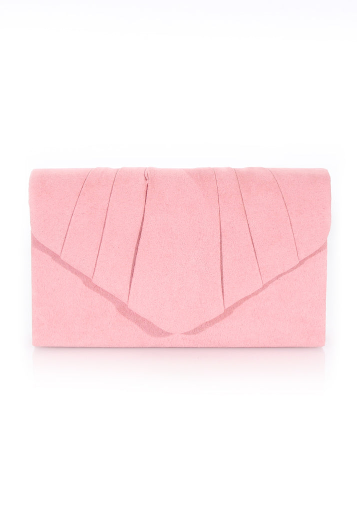 Blush Ruffle Front Clutch Bag