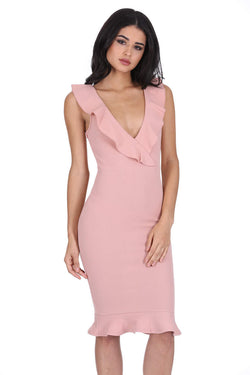 Blush V Neck Frill Detail Bodycon Dress