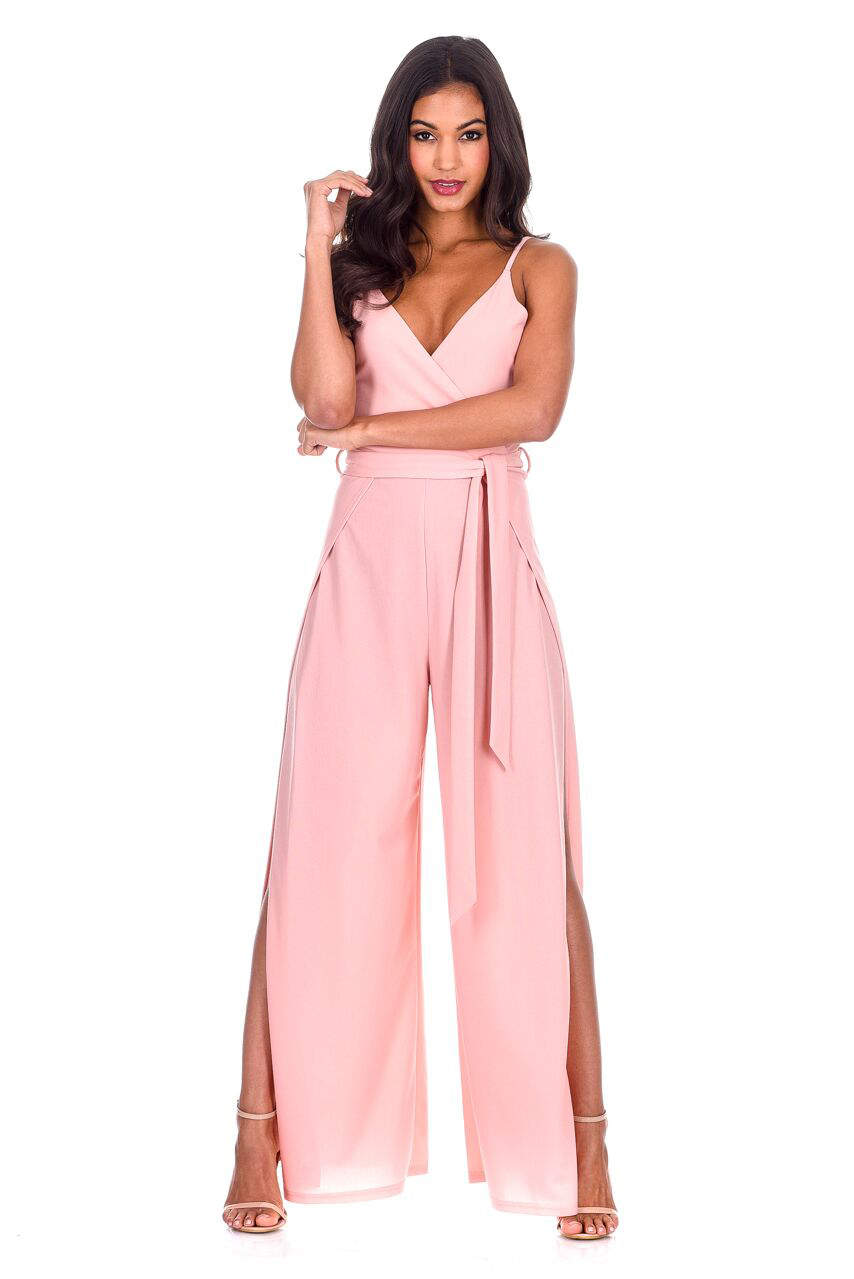 25912417b6be7f Blush Wide Leg Thigh Split Jumpsuit – AX Paris