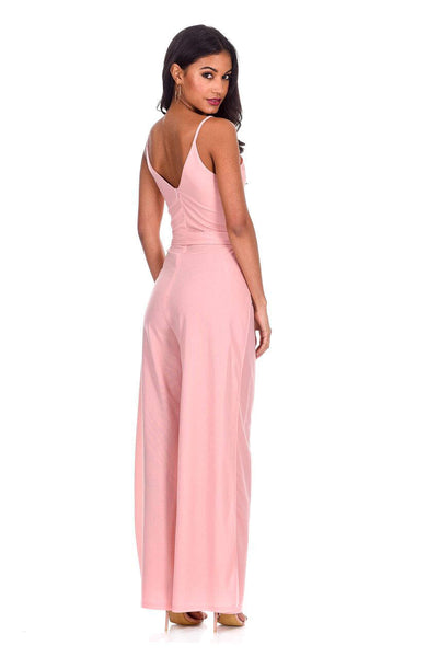 Blush Wide Leg Thigh Split Jumpsuit