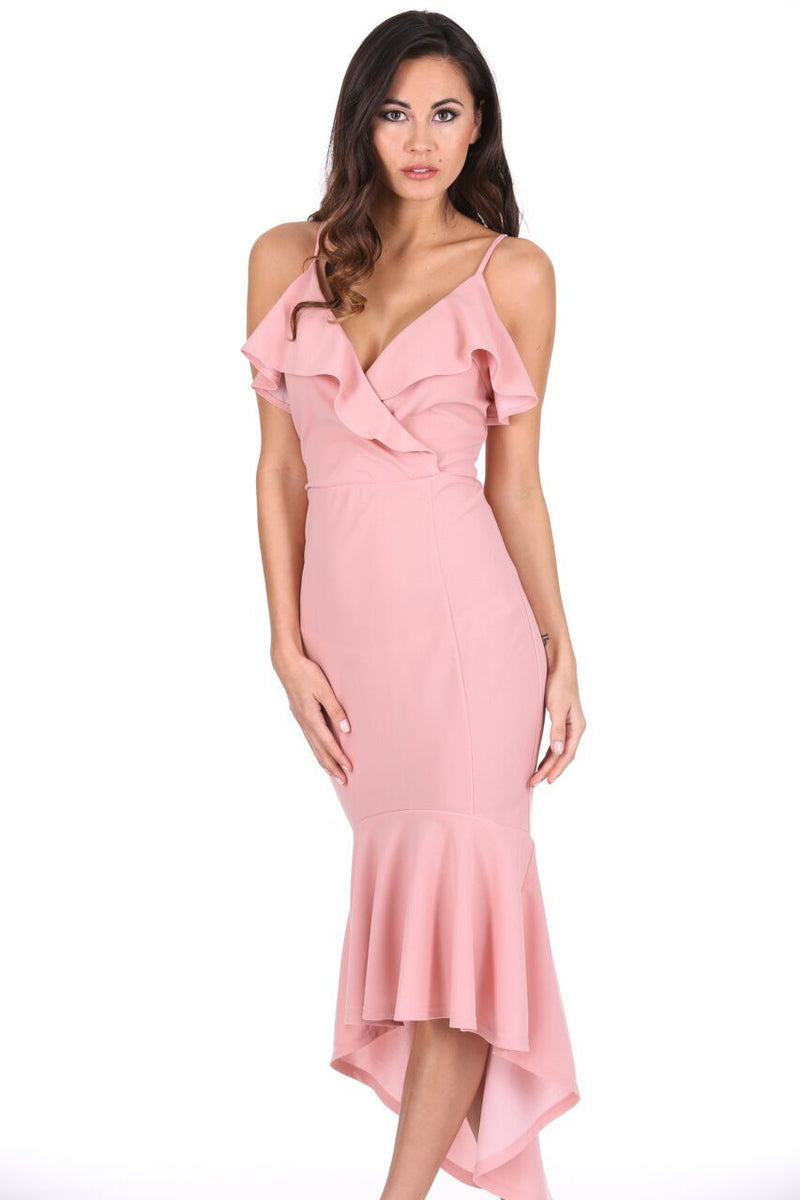 Blush Wrap Fishtail Midi Dress
