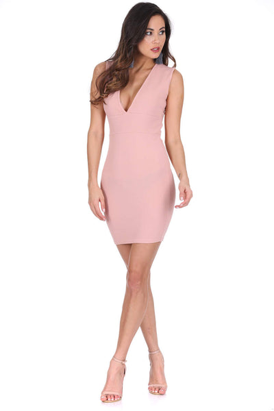 Nude V-Front Bodycon Dress