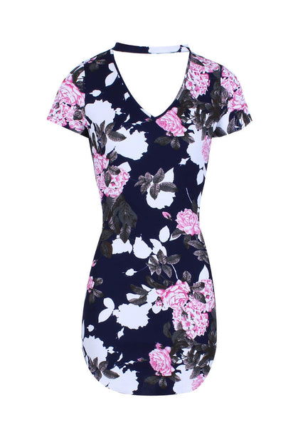 Bodycon Mini Navy Floral Dress