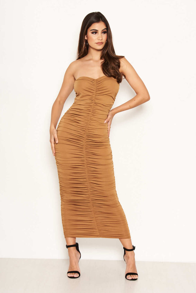 fc5bb6d9a349 Tan Strapless Ruched Midi Dress
