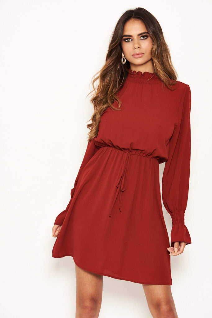 Brick High Neck Skater Dress