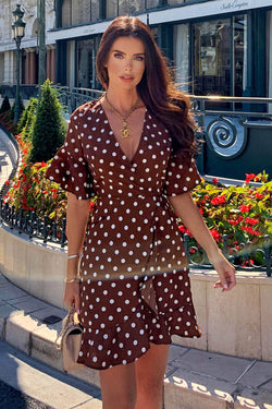 Brown Polka Dot Wrap Frill Dress