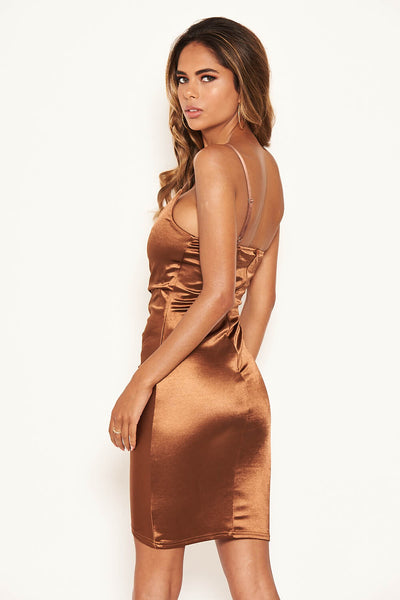 Brown Ruched Front Satin Dress