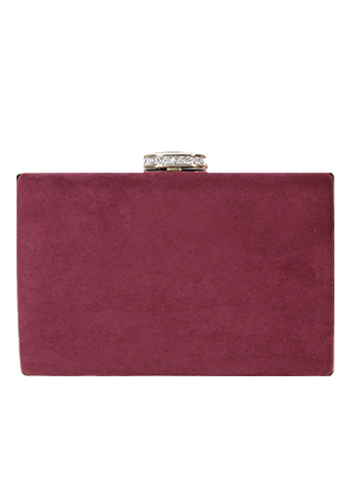 Burgundy Suede Box Clutch with Jewel Clasp