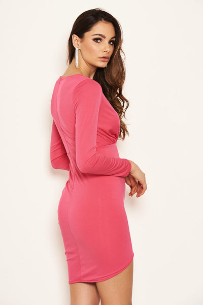 Cerise Long Sleeve Ruched Wrap Dress