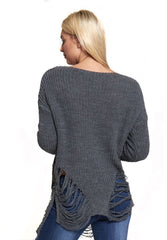 Charcoal Ladder Cable Knit Jumper