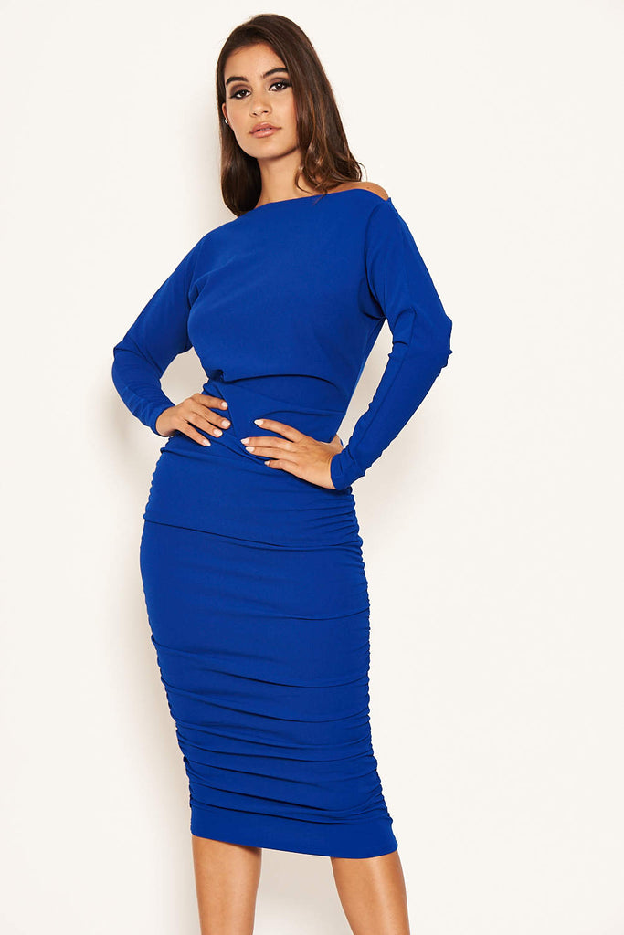 Blue Off Shoulder Ruched Dress