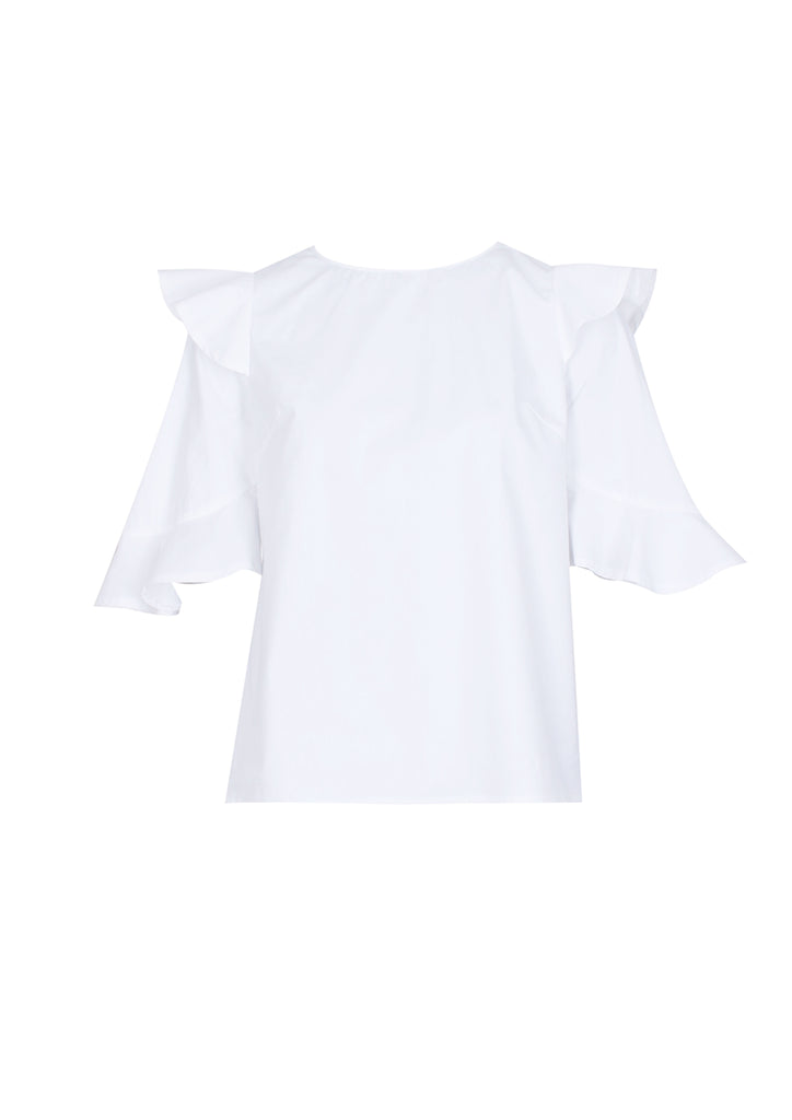 Cream Double Frill Sleeved Shirt