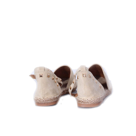 Cream Faux Suede Studded Espadrille