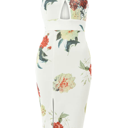 Cream Midi Dress with Floral Cross Front