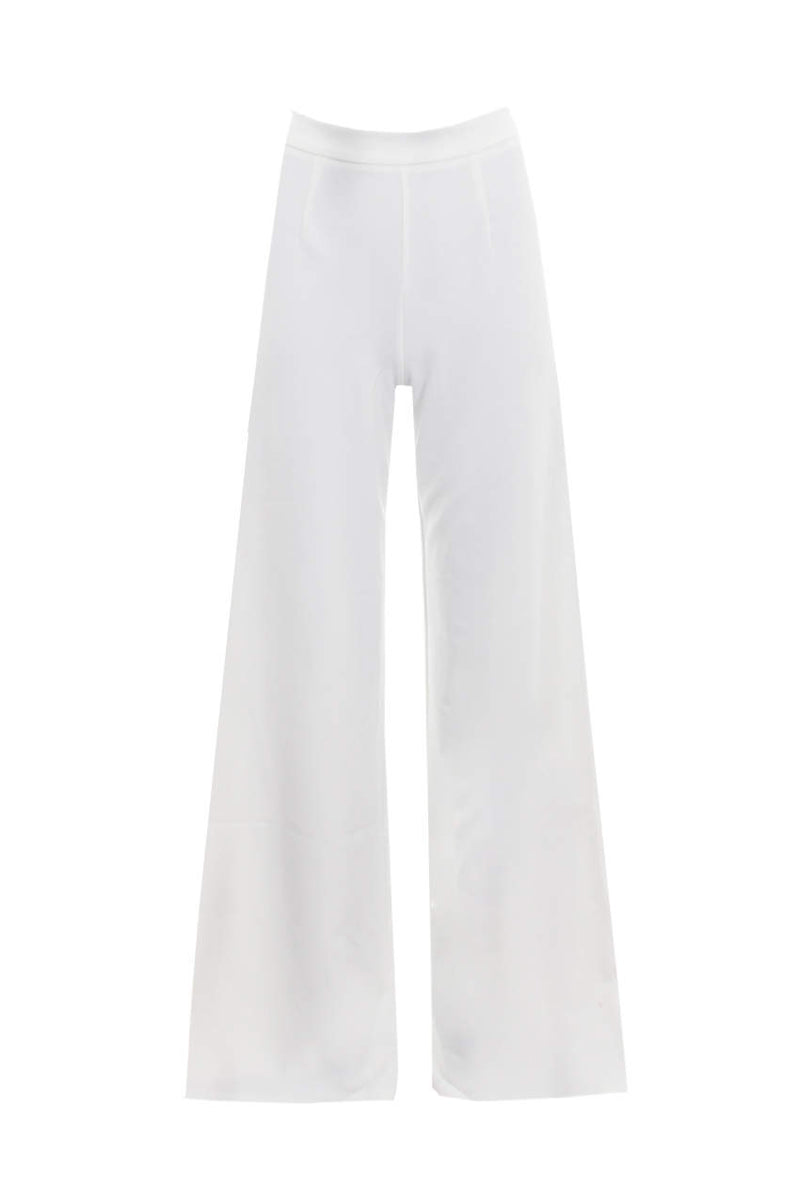 Cream Flared High Waisted Trousers