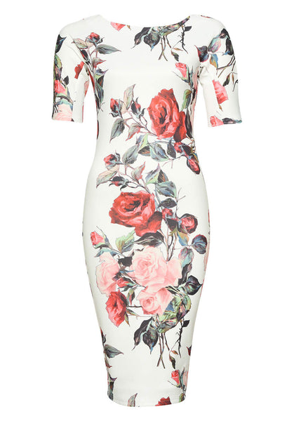 Floral Midi Bodycon Short Sleeve Dress