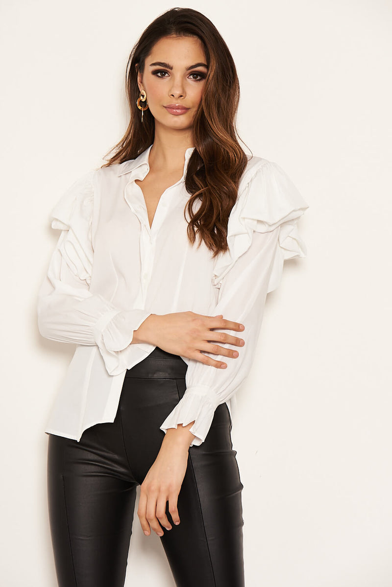 Cream Frill Detail Shirt